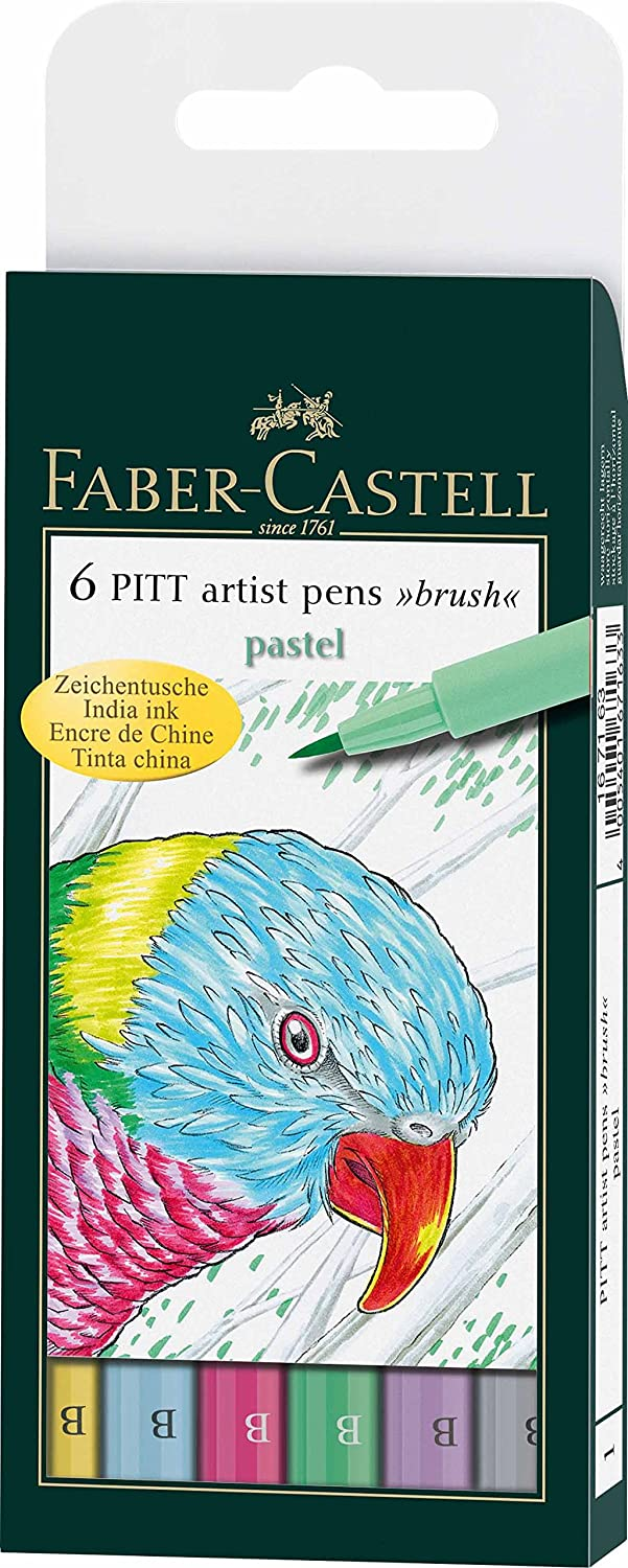 Faber-Castell Pitt Artists Pen Brush Pastel (Wallet of 6) F167163
