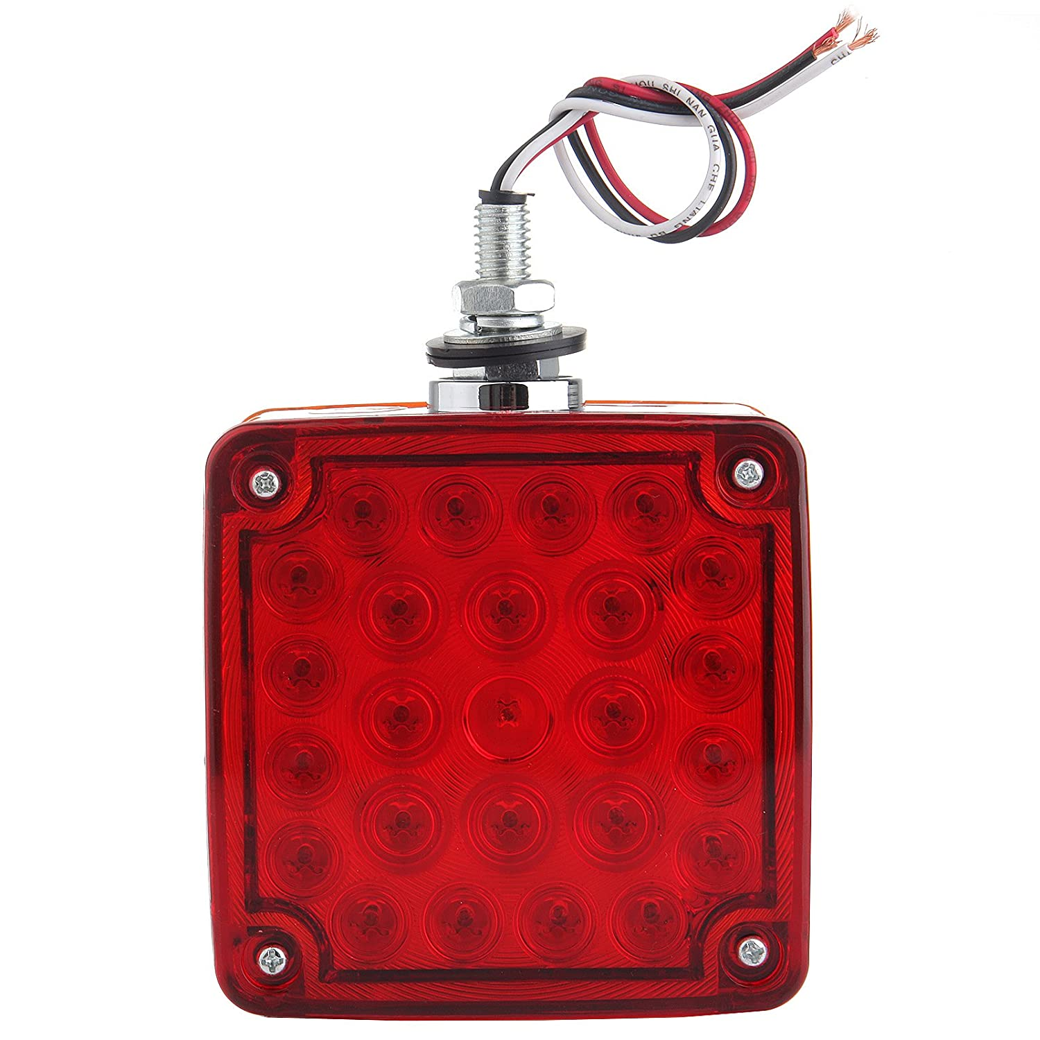 Pack of 2 800063-5210-0924491 cciyu Side Marker Light 52 Leds Stop Turn Tail Lamp Amber//Red Double Face Stud Mount Cab Fender Marker Light Stop Turn Signal Light Tail 52 LED Light Red + Amber