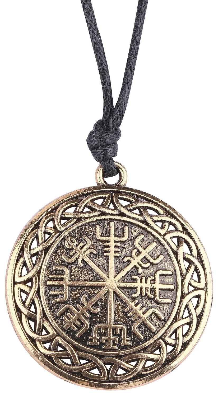 lemegeton Vintage Nudo de Viking Vegvisir brújula Charm Collar de cadena para los hombres BiChuang