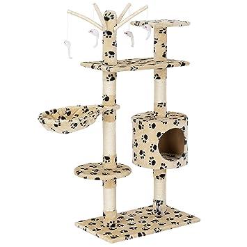 [en.casa] Rascador para gatos (65 x 35 x 130 cm aprox.)(crema con huellas) varios niveles / Sisal / con juegos, cueva y hamaca: Amazon.es: Hogar