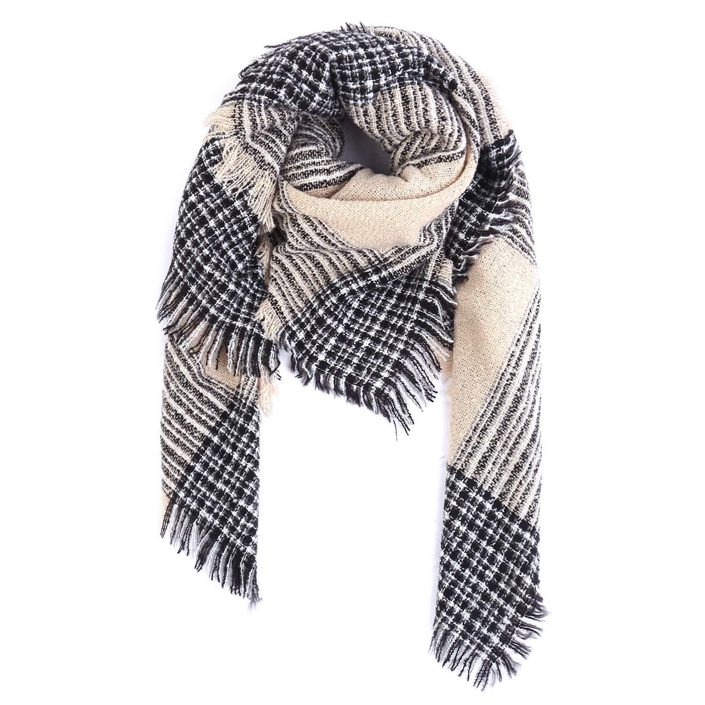 Sciarpa da Donna Invernale Tartan Caldo Aibrou Sciarpa Scialle Donna Inverno Scialle Donna Elegante Scozzese Quadri con Frange Nappa
