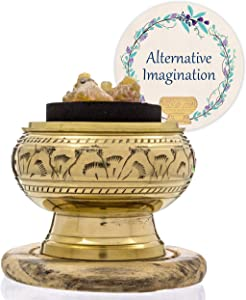 Alternative Imagination Premium Bundle of Hand Carved Brass Incense Holder with Myrrh Resin. Comes with 10 Charcoal