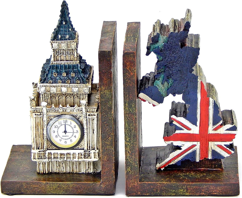 Bellaa 26348 British Patriots Bookends Big Ben Real Clock Tower UK Flag Bookshelves Decor
