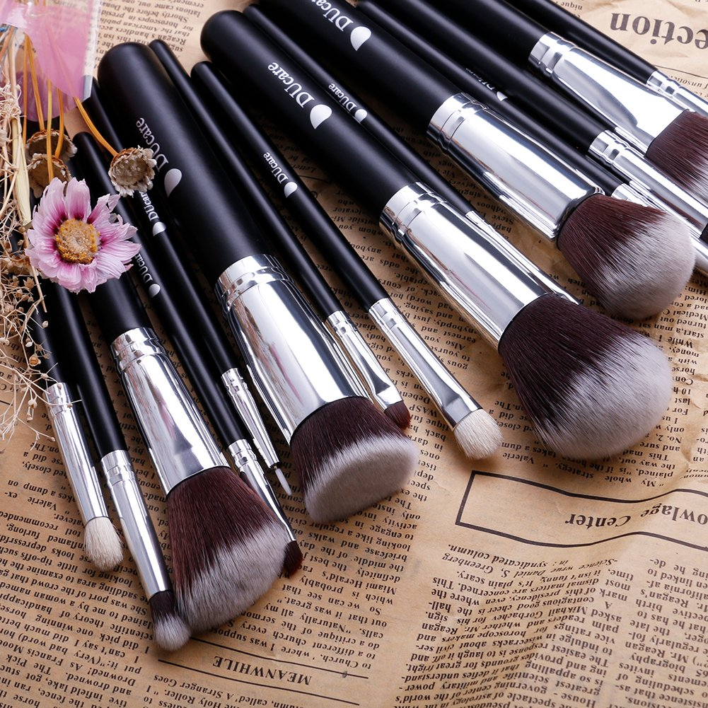 DUcare Makeup Brush Set 15 Pcs Black with with Cosmetic Bag and Gift Box Premium Foundation Blending Blush Makeup Brushes: Amazon.co.uk: Beauty