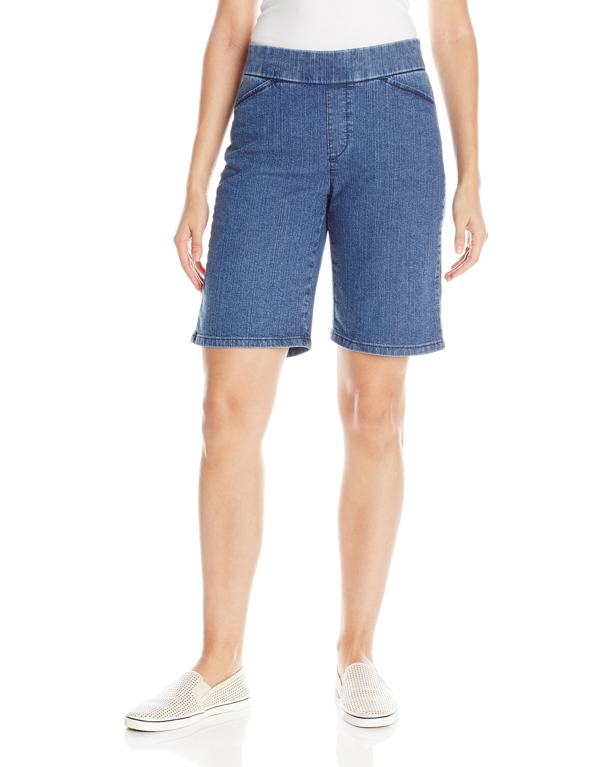 Chic Classic Collection Women's Relaxed Fit Flat Front Elastic Waist Bermuda Short, Mid Shade, 16