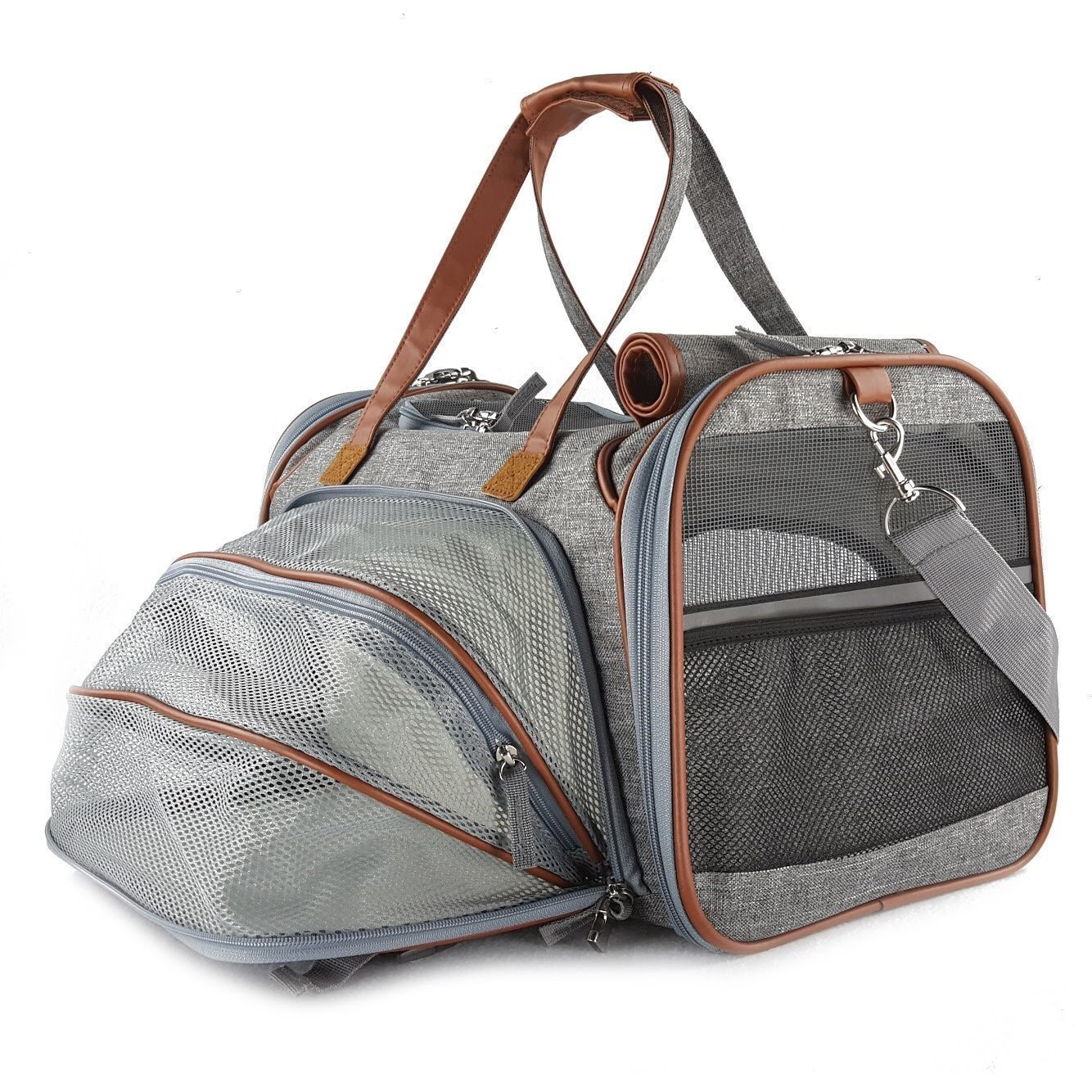 HOLIDAY SALE!Petratronics Pet carrier Bag Waterproof Expandable Airline Approved Soft Sided Pet Carrier by INDUS TRADING with Fleece Pad, Premium Zippers, Under Seat Compatibility, for Cats, Small Dog