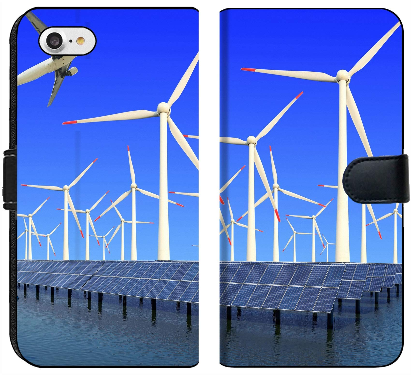 Apple iPhone 7 and iPhone 8 Flip Fabric Wallet Case Image ID 19576484 Aircraft is Flying in eco Power of Wind turbines and Solar Panel at c