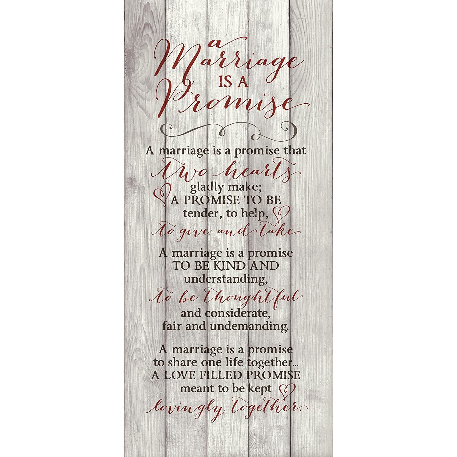 """Marriage Promise Wood Plaque Inspiring Quote - Classy Vertical Frame Wall Hanging Decoration 