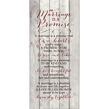 Marriage Promise Wood Plaque Inspiring Quote - Classy Vertical Frame Wall Hanging Decoration | A Promise That Two Hearts Gladly Make | Christian Family Religious Home Decor Saying (5.5  x 12 )
