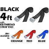 "1½"" x 4ft PowerTye Made in USA Heavy-Duty Lashing Strap with Heavy-Duty Buckle, Black, 2-Pack"