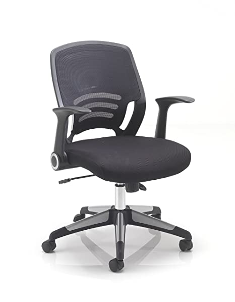 Office Hippo Mesh Back Office Desk Chair With Retractable Arms, Fabric,  Black