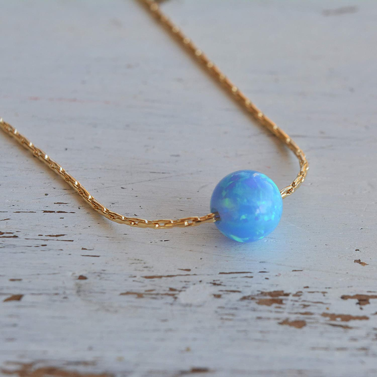 Blue Opal Ball Necklace 14k Gold Filled delicate Chain Opal Bead Necklace 16 length + 2 extension