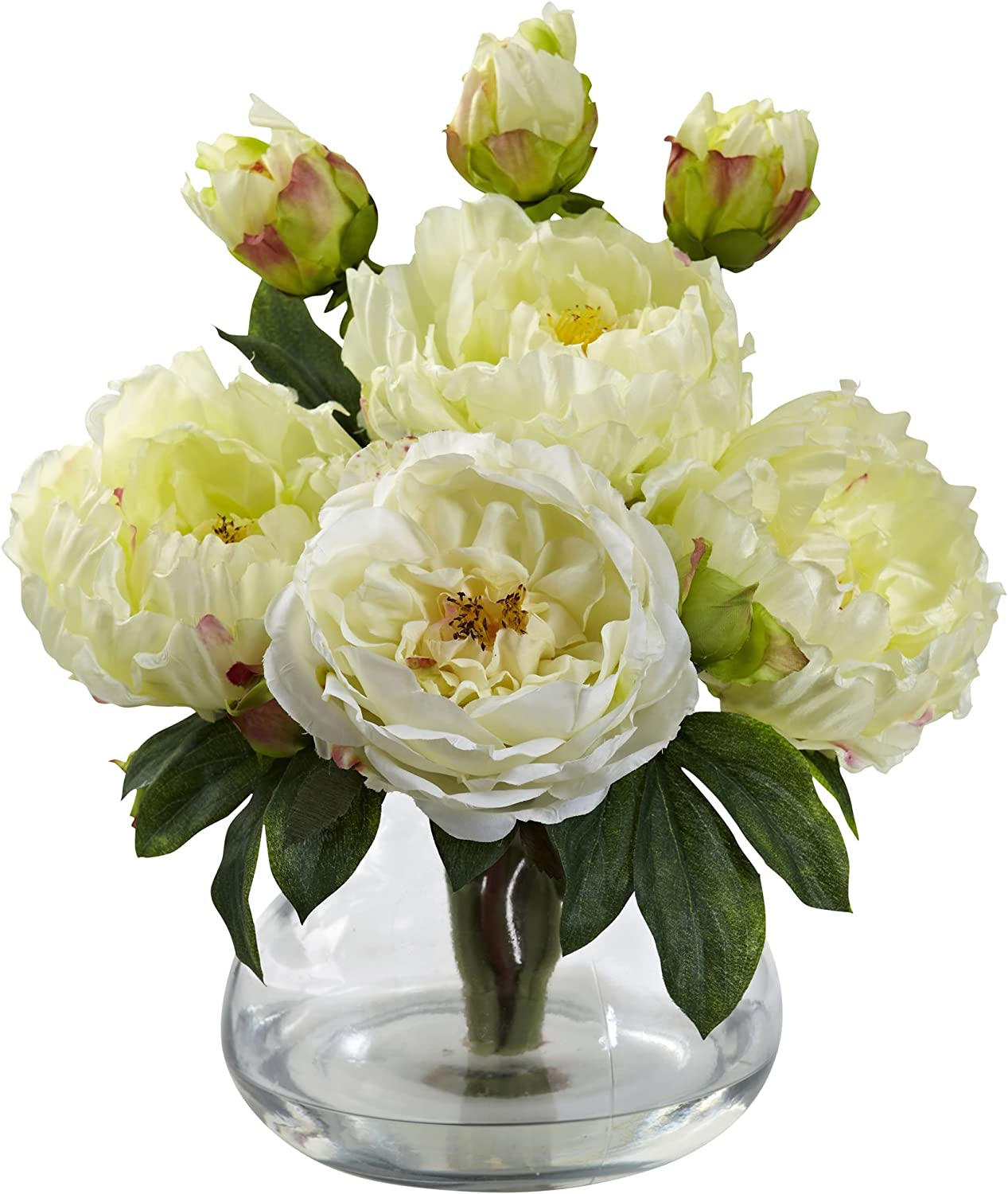 White Nearly Natural 1400-WH Peony and Rose with Vase