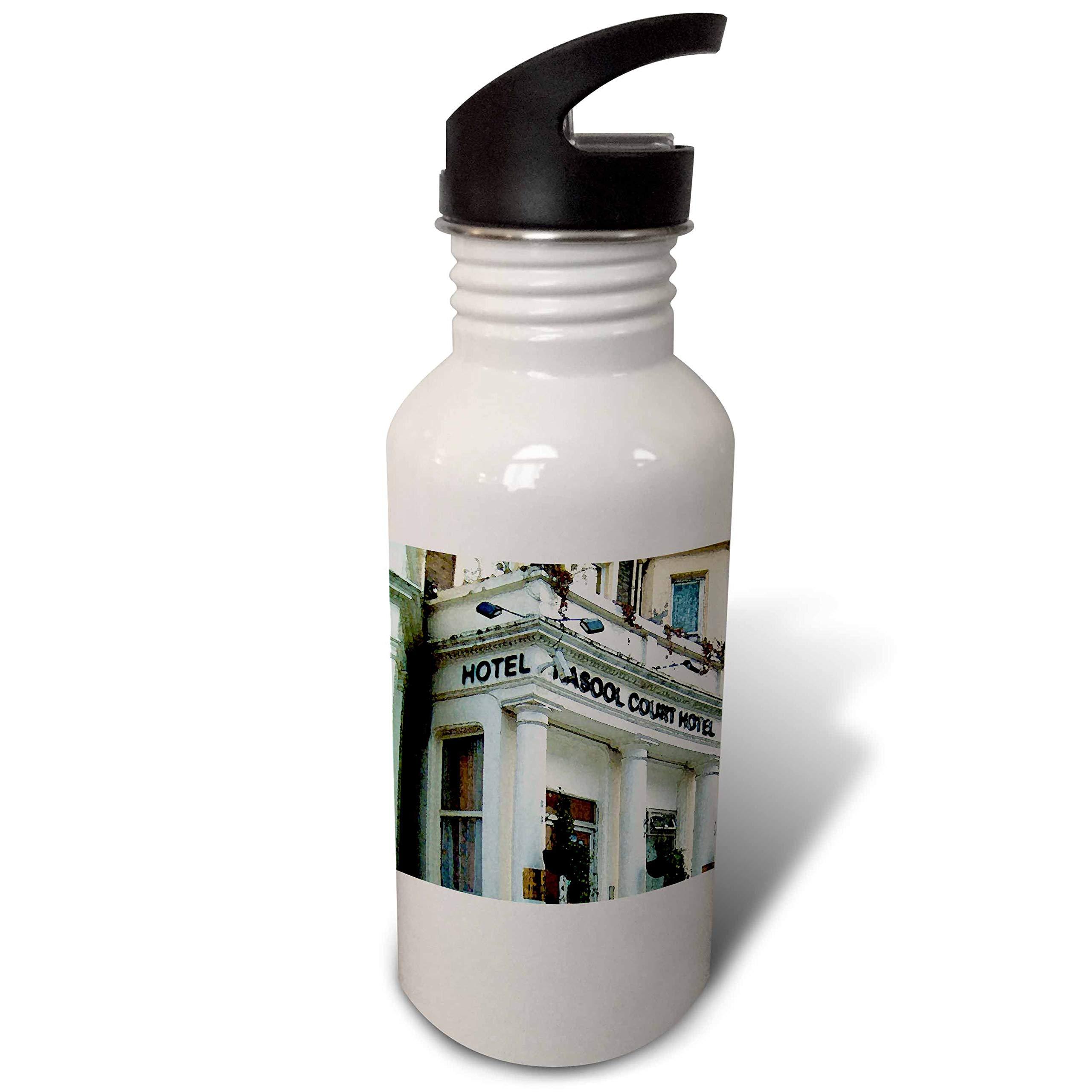 3dRose Jos Fauxtographee- London Watercolor Hotel - The Rasool Hotel in London Done in a Watercolor Effect - Flip Straw 21oz Water Bottle (wb_291340_2)