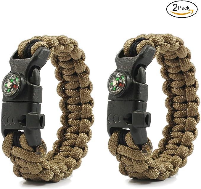 PSKOOK - Pulsera de supervivencia ajustable con cuerda elástica de cuerda elástica de paracaídas, silbato de campamento, silbato de emergencia, kit de 2 unidades, Kahki: Amazon.es: Deportes y aire libre