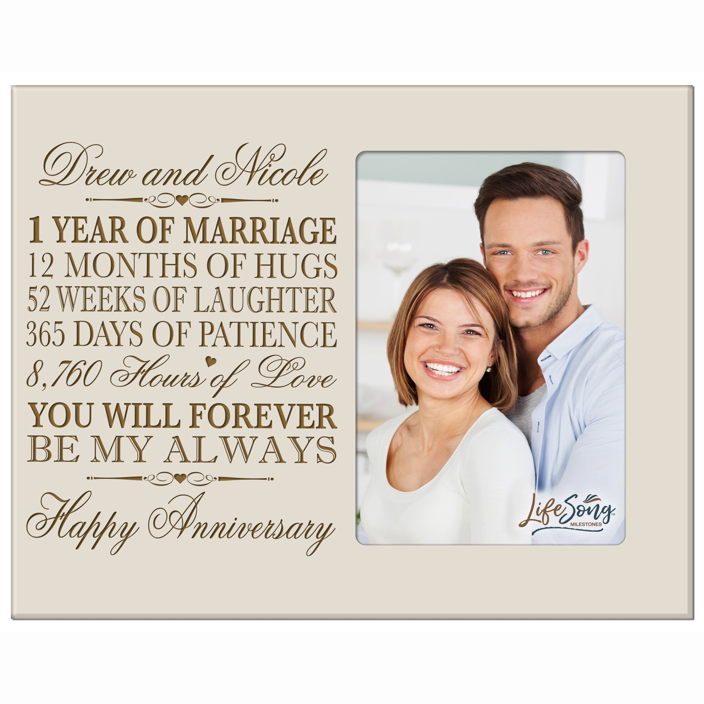 LifeSong Milestones Personalized one Year her him Couple Custom Engraved 1st Year Wedding Celebration for Husband Wife Girlfriend Boyfriend Photo Frame Holds 4x6 Photo (Ivory) by LifeSong Milestones