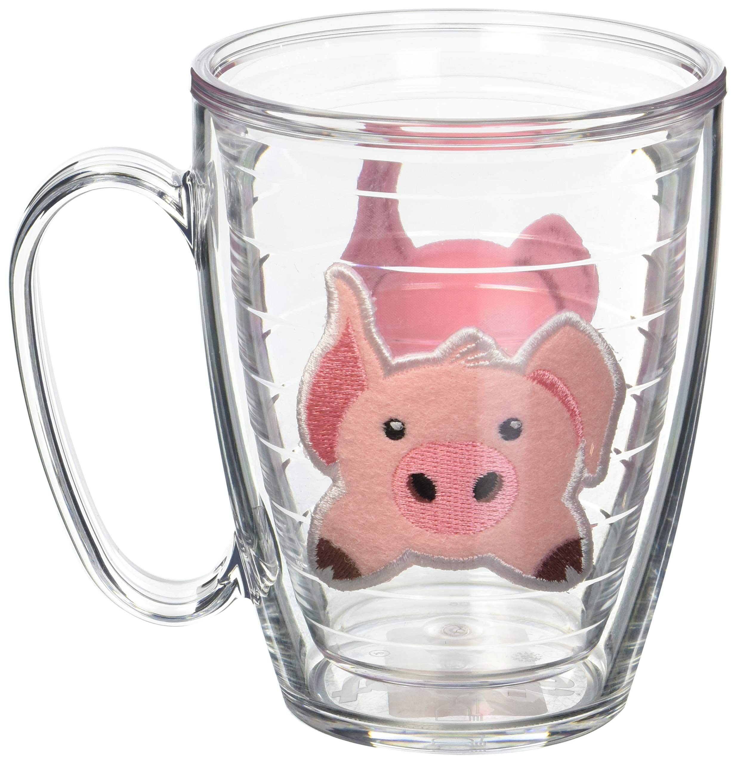 Tervis 1133504 Front & Back Pig Insulated Tumbler with Emblem, 16oz Mug, Clear