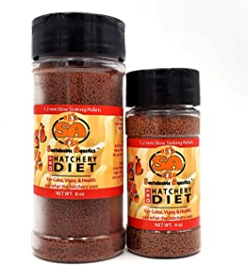 Sustainable Aquatics 1.2 mm Dry Hatchery Diet – 4 oz. or 8 oz. Bottle. Use for Color, Vigor, Health. Use What The Hatchery uses!!! Hatchery Fish Food! Slow Sinking pellets.