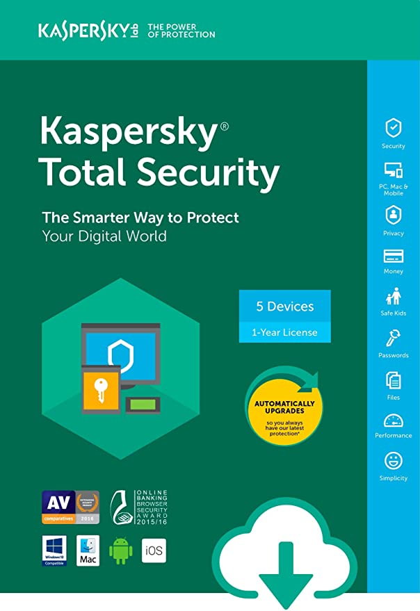Kaspersky Total Security 2018 | 5 Device | 1 Year [Download