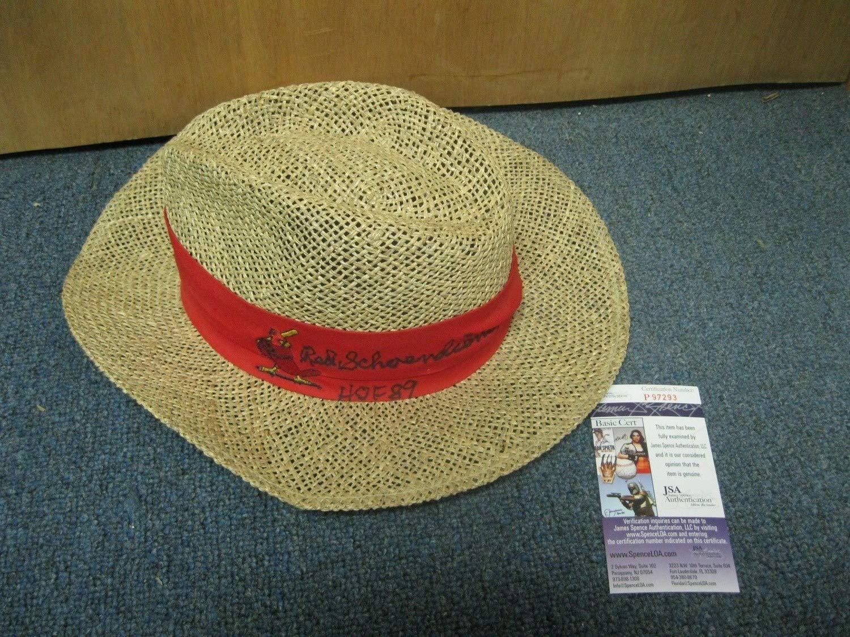 Red Schoendienst Autographed Signed Straw Hat JSA Certified