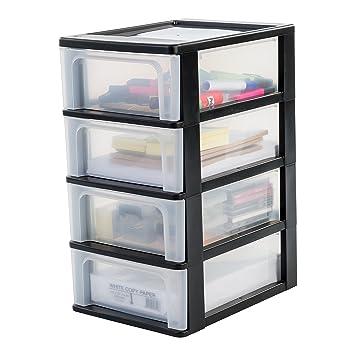 IRIS Escritorio cajón, cajones sin Ruedas cajones de plástico con Cuatro cajones, contenedores Negro
