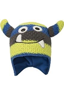 33941270629d Mountain Warehouse Bonnet Monster Stripe Enfants - Entretien Facile    Doublure Polaire - Parfait pour Garder
