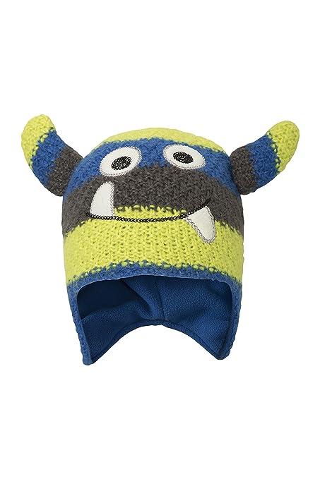 89616dc4e7ba7 Mountain Warehouse Monster Stripe Kids Winter Hat - Fleece Lined Blue