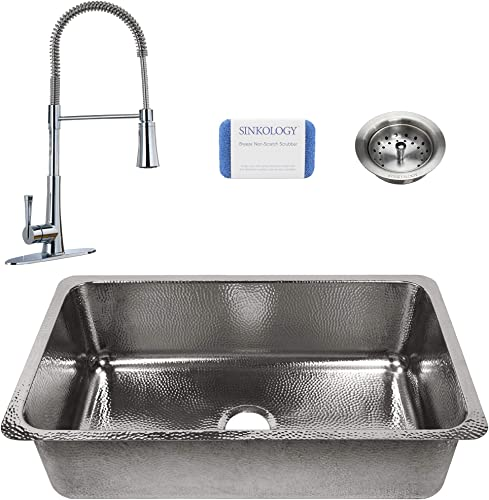 Sinkology SK704-31P-MCCB-AMZ Taylor All-in-One Undermount 31.25 in. Single Bowl in Polished Finish and Pfister Zuri Faucet and Strainer Drain Crafted Stainless Steel Kitchen Sink
