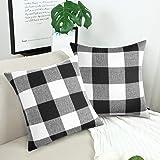 Volcanics Buffalo Check Plaid Throw Pillow Covers Set of 2 Farmhouse Decorative Square Case Cushion Pillowcase 18x18 Inches f