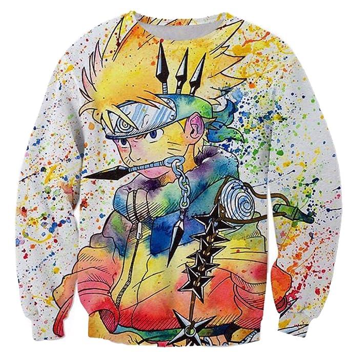 Men Rainbow Paint Naruto 3D Sweatshirt Anime Ninja Pullover Galaxy Costume
