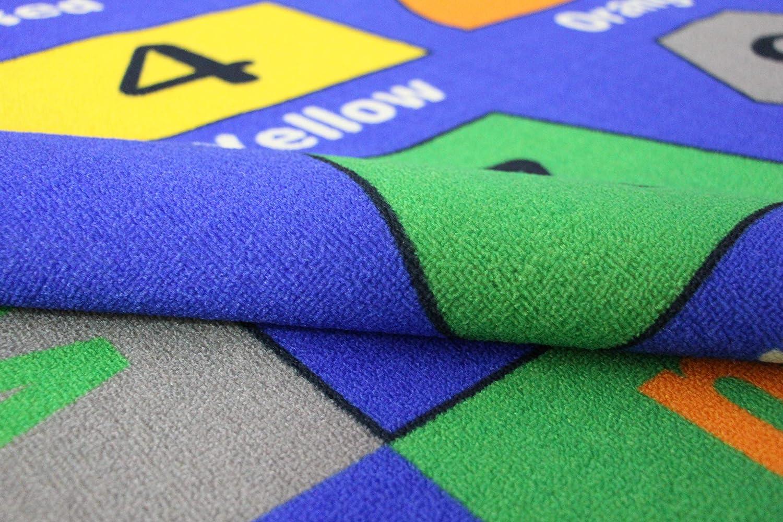 Bildungsbereich Teppich f/ür Schlafzimmer und Spielzimmer sicher und Spa/ß Spielzeit Teppich f/ür Kinder Zahlen und Formen 100 x 145cm FLOWood Kinderteppich Lernteppich Spielteppich mit ABC