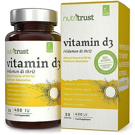 Vitamin D3 Tabletas de 400 UI por Nutritrust® Fuente natural de Vit D para una absorción máxima- Colecalciferol D3 para una mayor biodisponibilidad ...