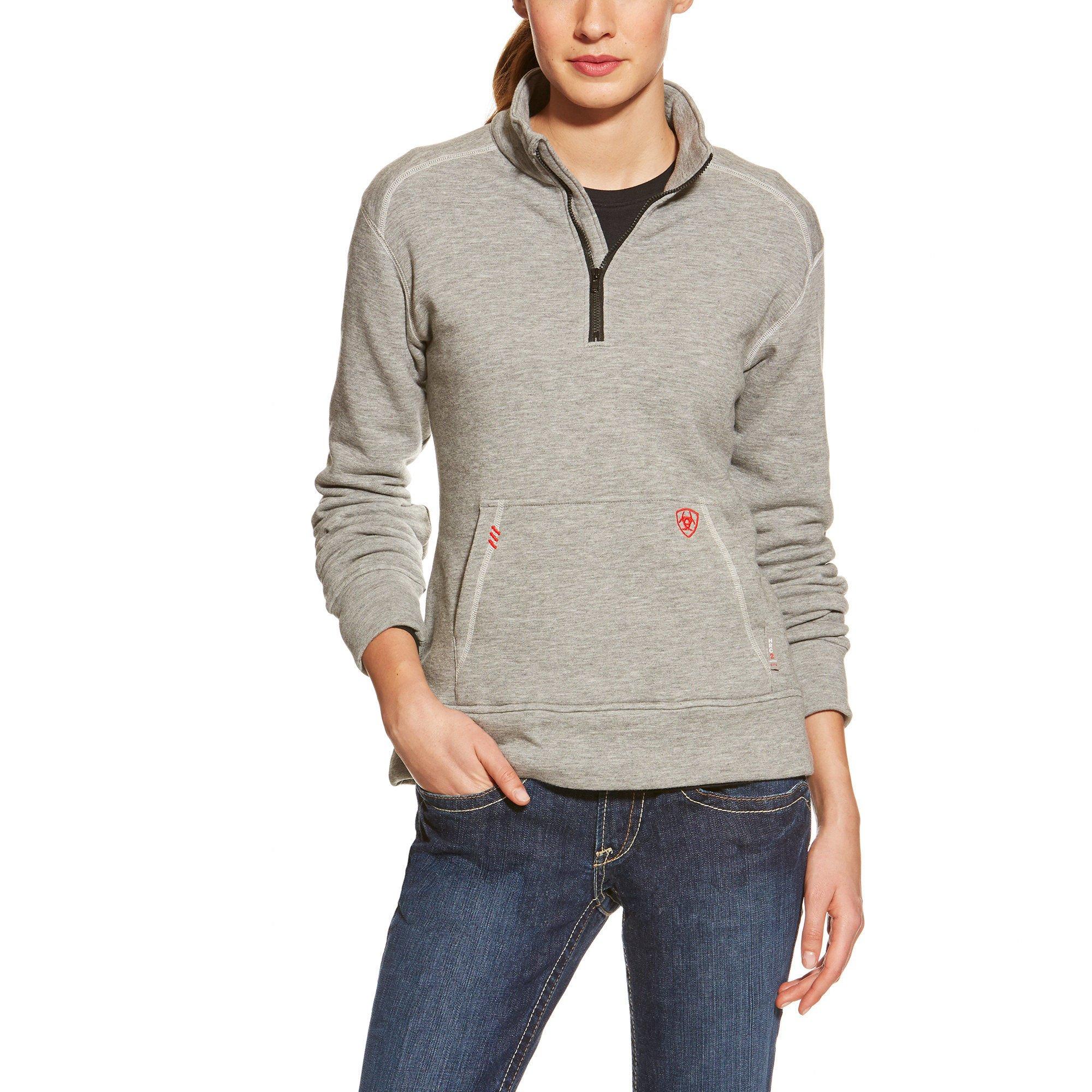 Ariat Women's Flame Resistant Polartec 1/4 Zip Fleece, Heather Gray, Large