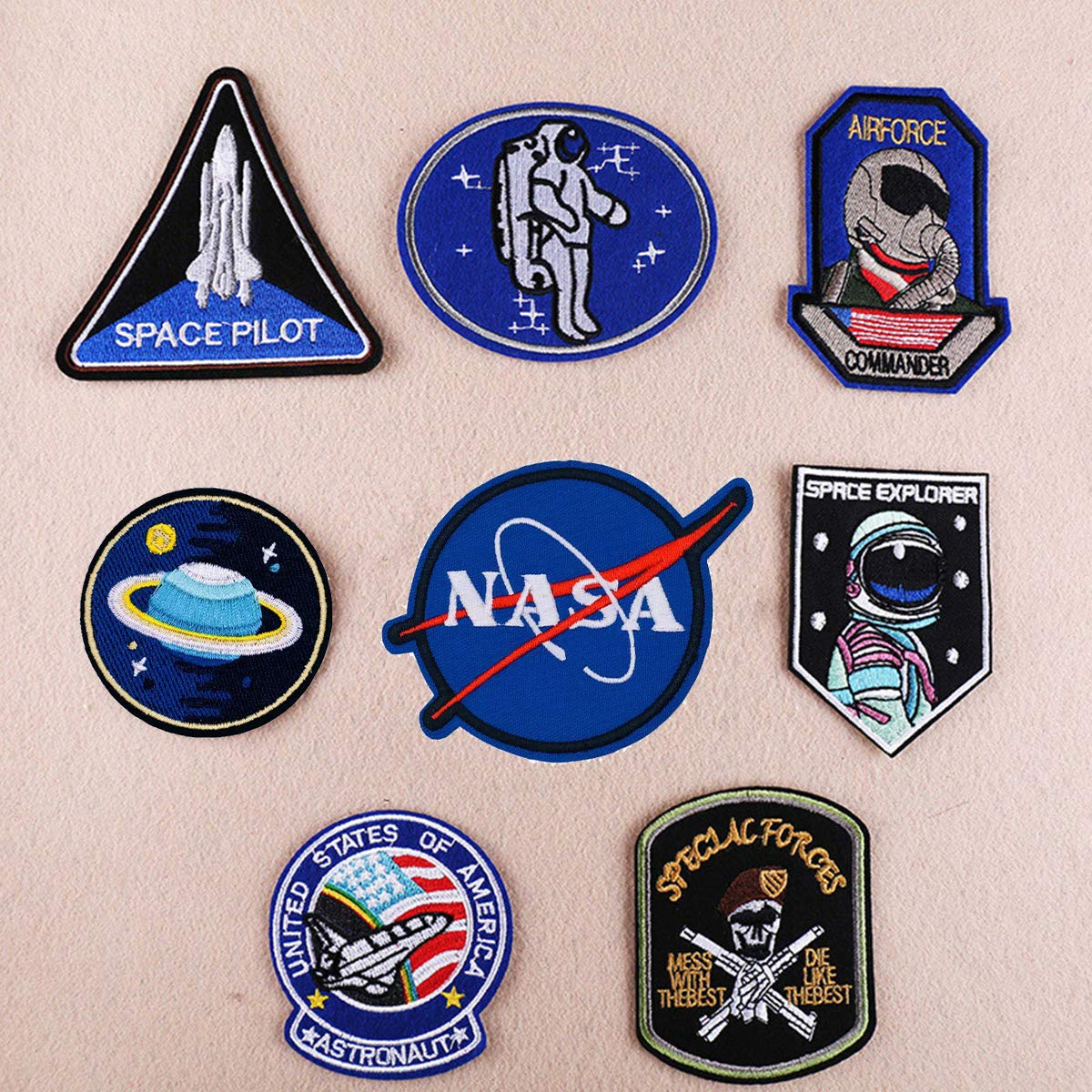 NASA Space Astronaut Costume Iron Sew on Embroidered Appliques Patches DIY Motif