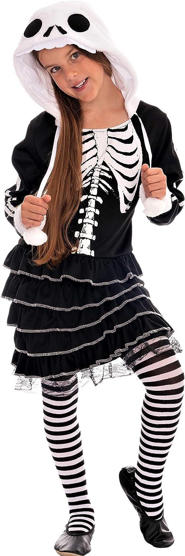 Magicoo schattig skelet kostuum kinderen meisjes zwart wit incl. jurk met capuchon