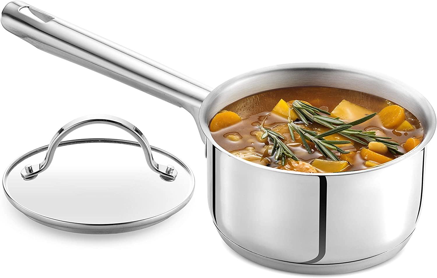GOURMEX Tango Induction Saucepan | Stainless Steel Pot With Glass Cookware Lid | Interior Measurement Markings | Compatible with All Heat Sources | Dishwasher Oven Safe (1.2L)
