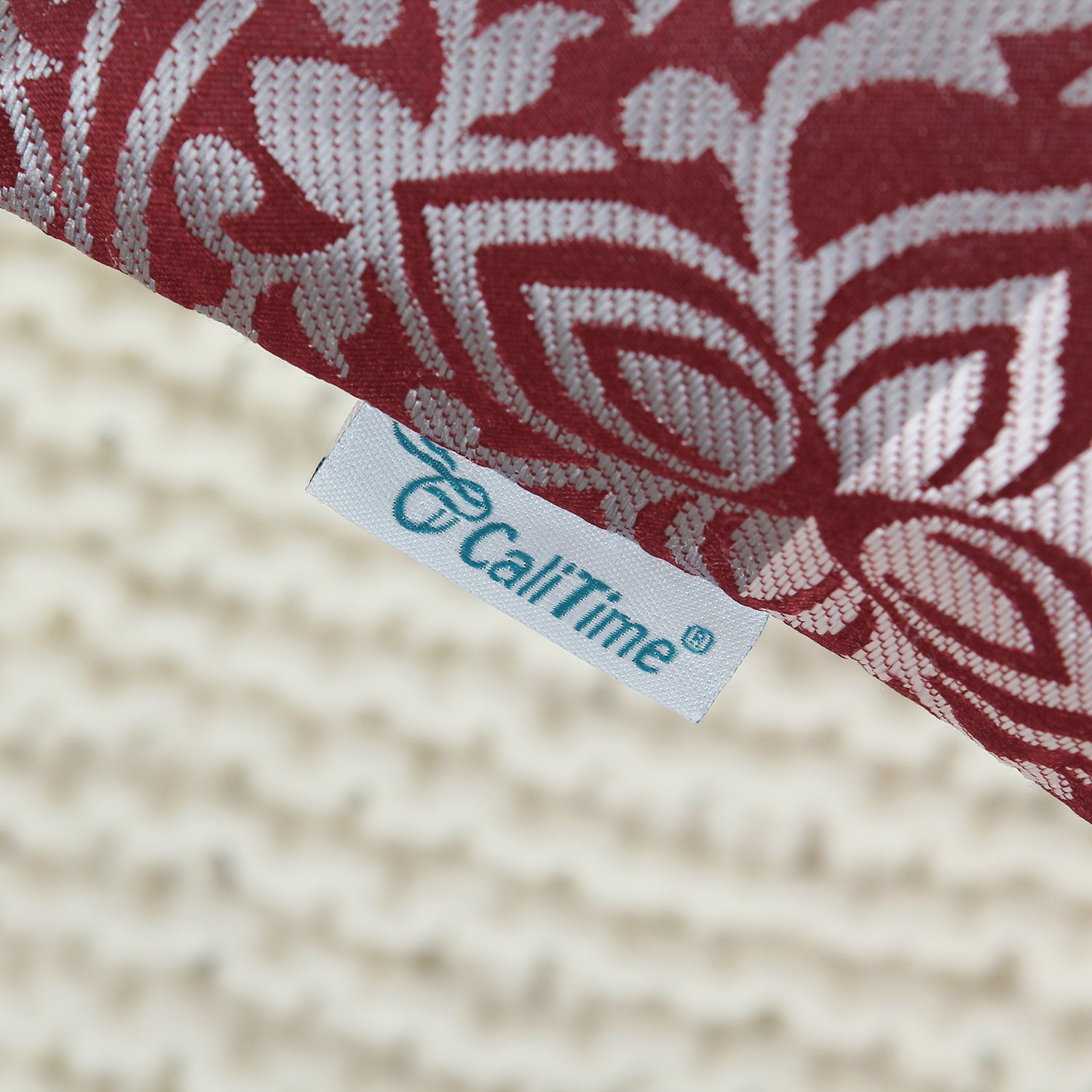 CaliTime Pack of 2 Throw Pillow Covers Cases for Couch Sofa Home Decoration Vintage Yin and Yang Contrast Striped Damask Floral 18 X 18 Inches Teal
