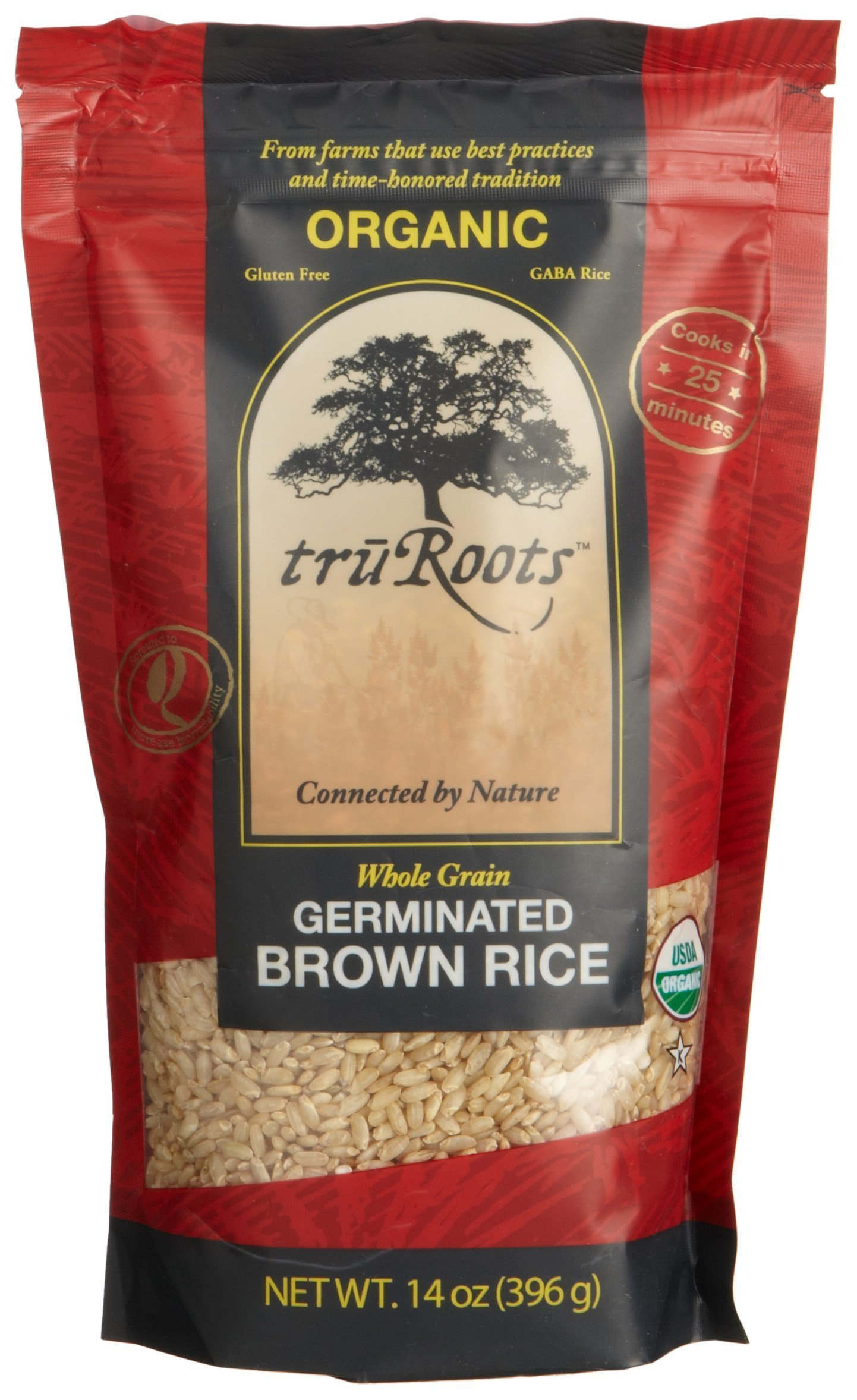truRoots Organic Germinated Brown Rice, 14-Ounce Pouches (Pack of 6) by truRoots