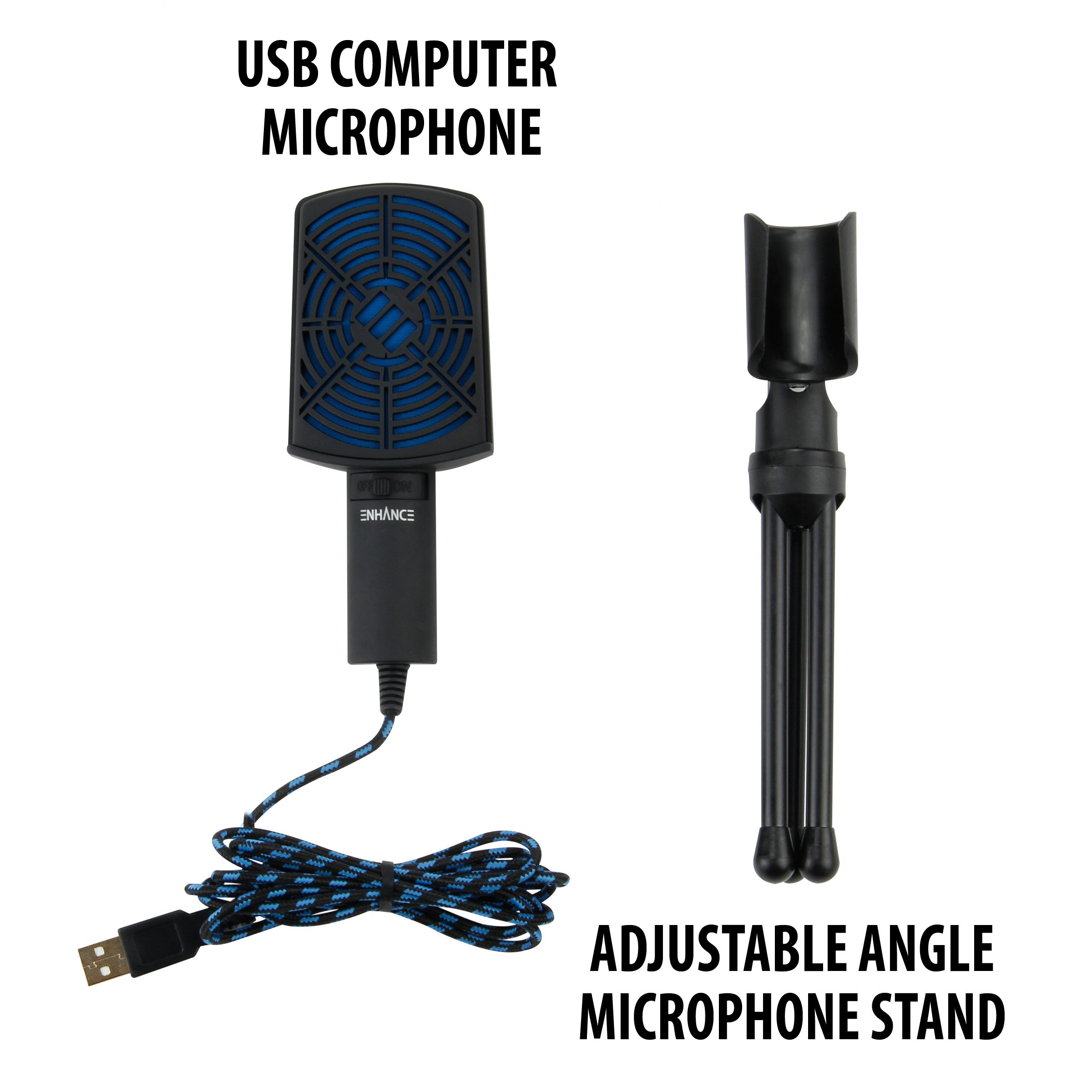 ENHANCE USB Condenser Gaming Microphone - Computer Desktop Mic for Streaming & Recording with Adjustable Stand Design and Mute Switch - For Skype, Conference Calls, Twitch, Youtube, and Discord - Blue by ENHANCE (Image #2)
