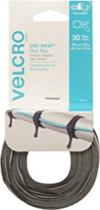 VELCRO Brand - ONE WRAP Thin Ties, 15 x 1/2-Inch, 30 Count, Black & Gray