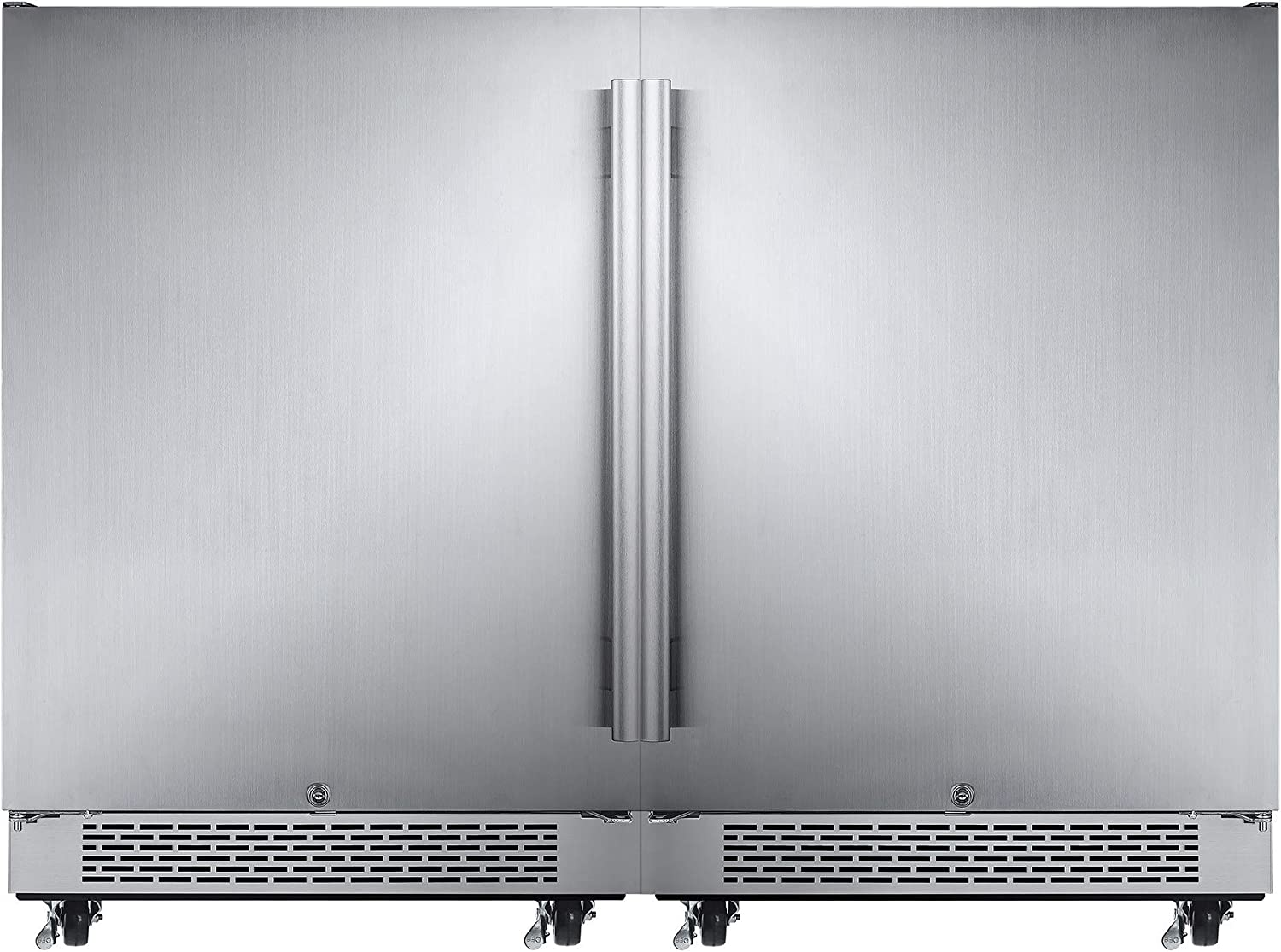 Avallon AFR241SSODDUAL Stainless Steel Built-In 48 Inch Wide 11 Cu. Ft. Total Capacity Side by Side Dual Refrigerators with Touch Controls and Door Locks