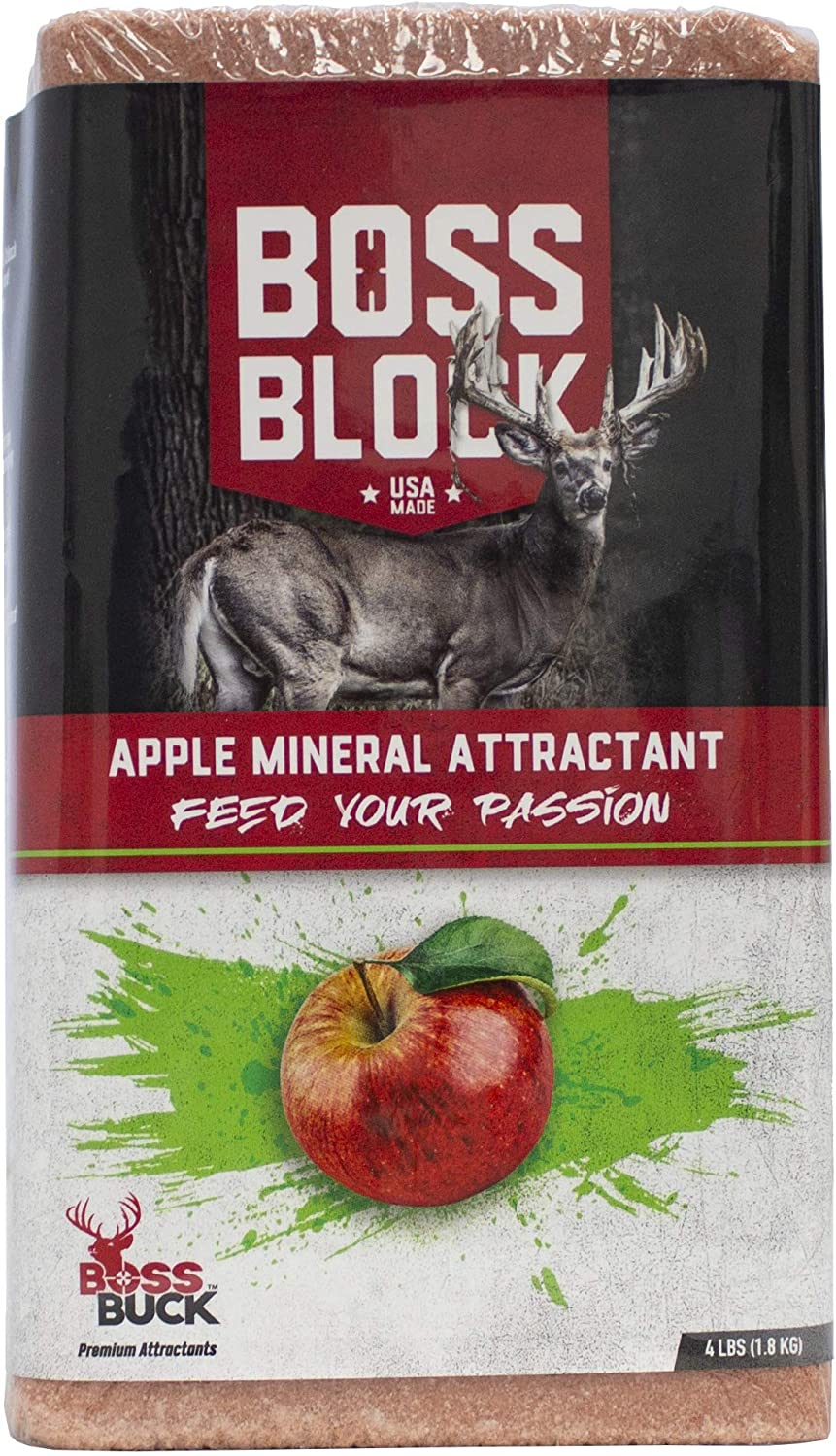 Boss Buck Boss Block - Apple Mineral Attractant Block - 4Lbs -Attracts Game Fast, Long Lasting, Perfect for New or Maintaining Mineral Sites