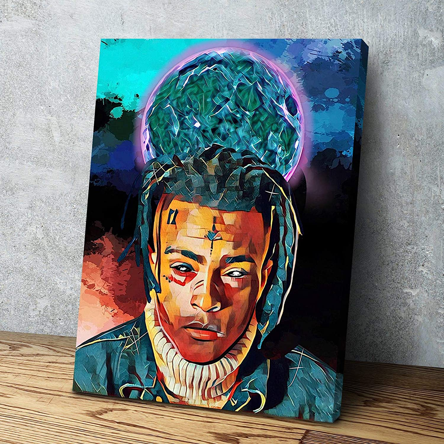 Rappers Famous People Hand Drawn Canvas Wall Art Home Decor (18in x 24in Framed, Xxxtentacion)