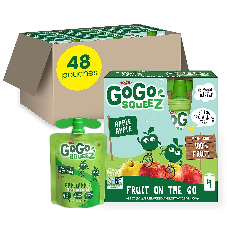 GoGo squeeZ Fruit on the Go, Apple Apple, 3.2 oz. (48 Pouches) - Tasty Kids Applesauce Snacks Made from Apples - Gluten Free Snacks for Kids - Nut & Dairy Free - Vegan Snacks