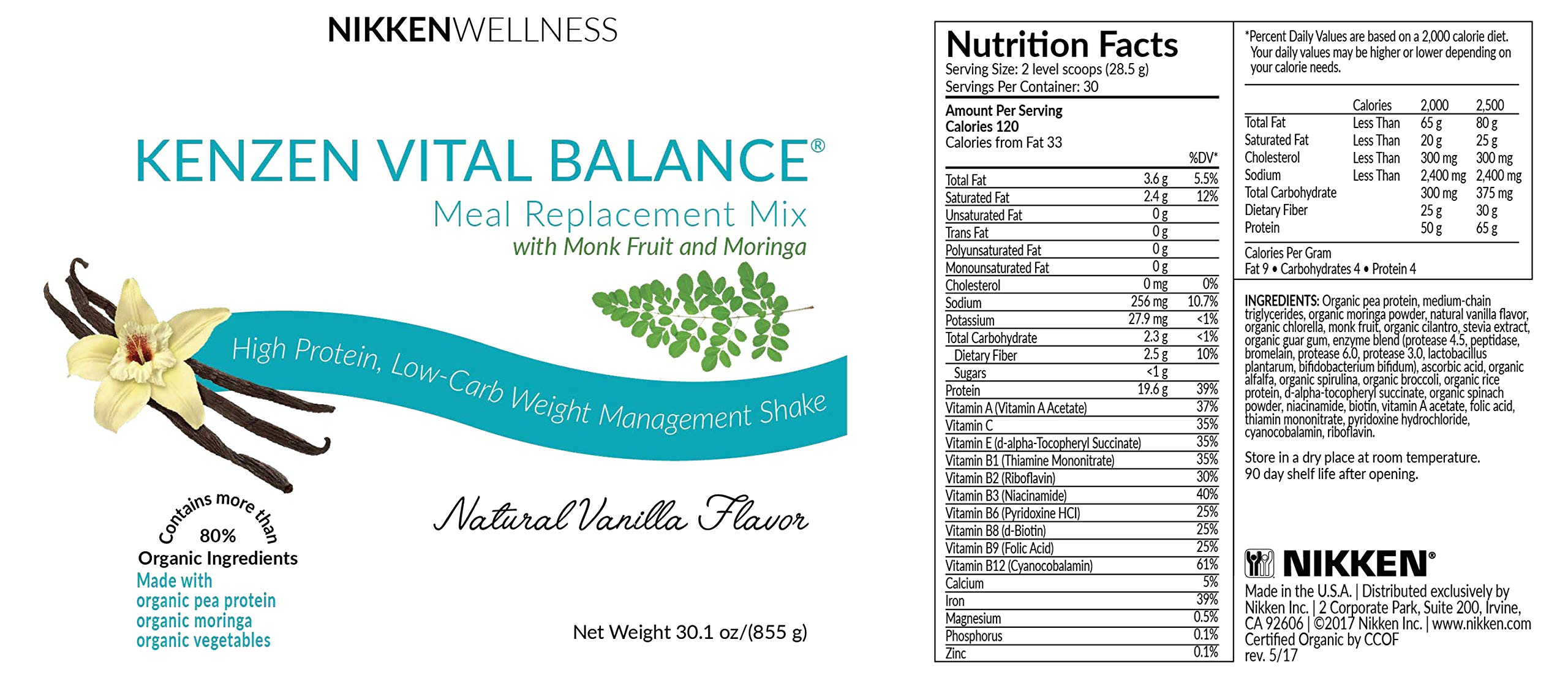 Nikken Kenzen Vital Balance® Meal Replacement Mix 30 oz - Vanilla Flavor by Nikken (Image #2)