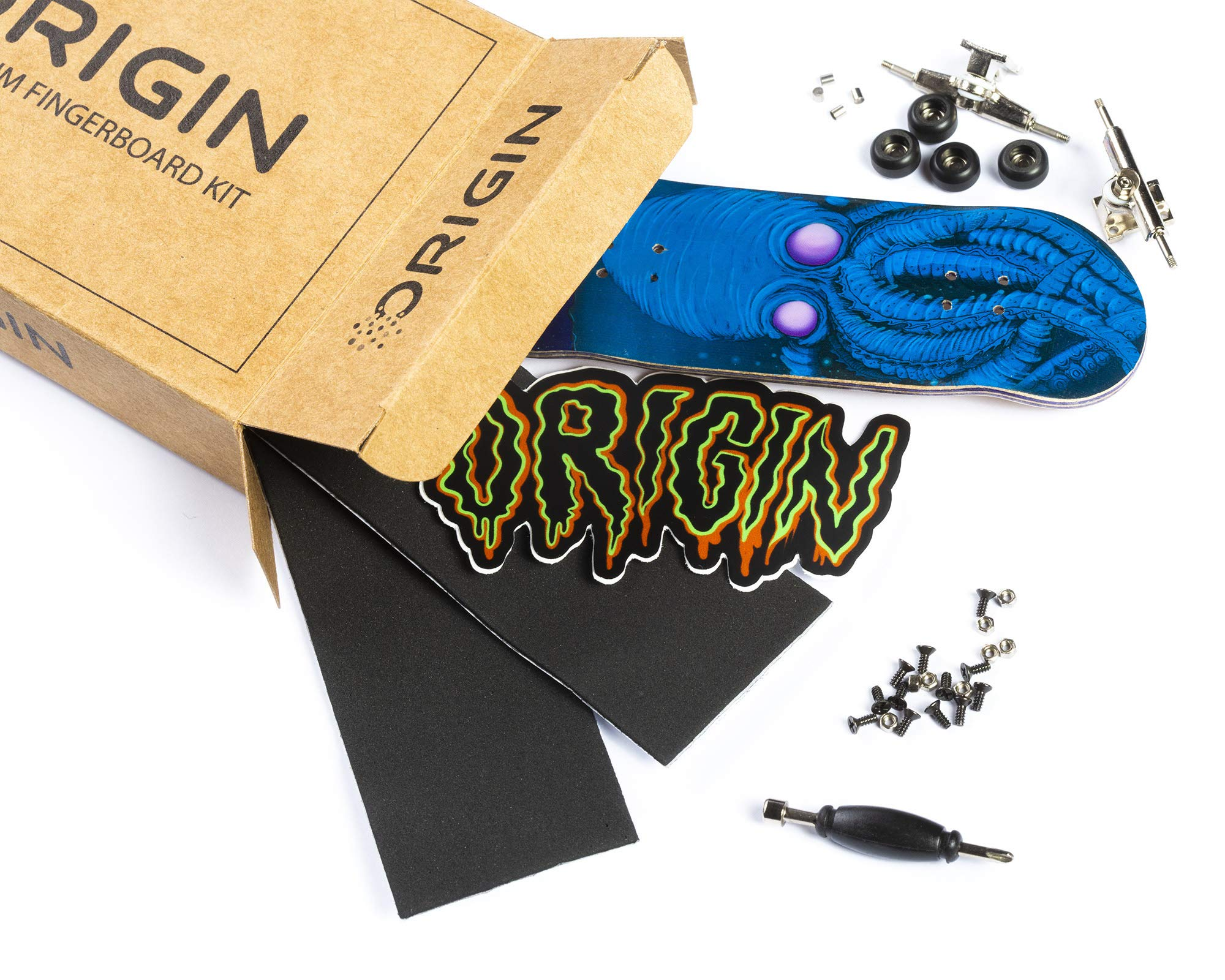 Origin Fingerboards Premium Graphic Fingerboard Kit - 32mm 5-Ply Canadian Maple Skateboard Toy with CNC Bearing Wheels (Kraken)