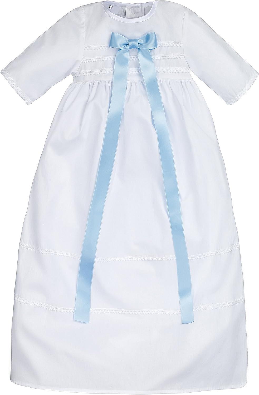Bateo Design Baby Taufkleid aus Baumwolle Felix mit Schleife in Blau und Wei/ß