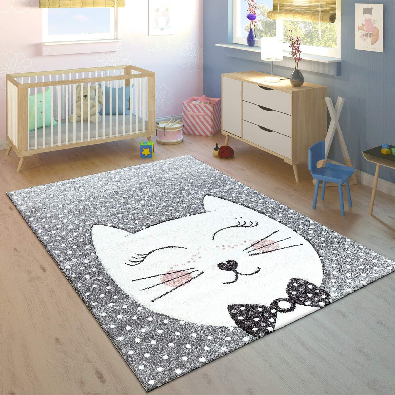 Paco Home Alfombra Infantil Gato Sonriente Rosa Pastel tama/ño:80x150 cm