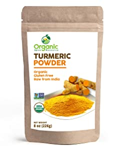 Organic Turmeric Root Powder   8oz or 16 oz (1 lbs)   Lab Tested for Heavy Metal and Purity, Resealable Kraft Bag, Non-GMO, Curcumin Powder - 100% Raw from India, by SHOPOSR (8oz)