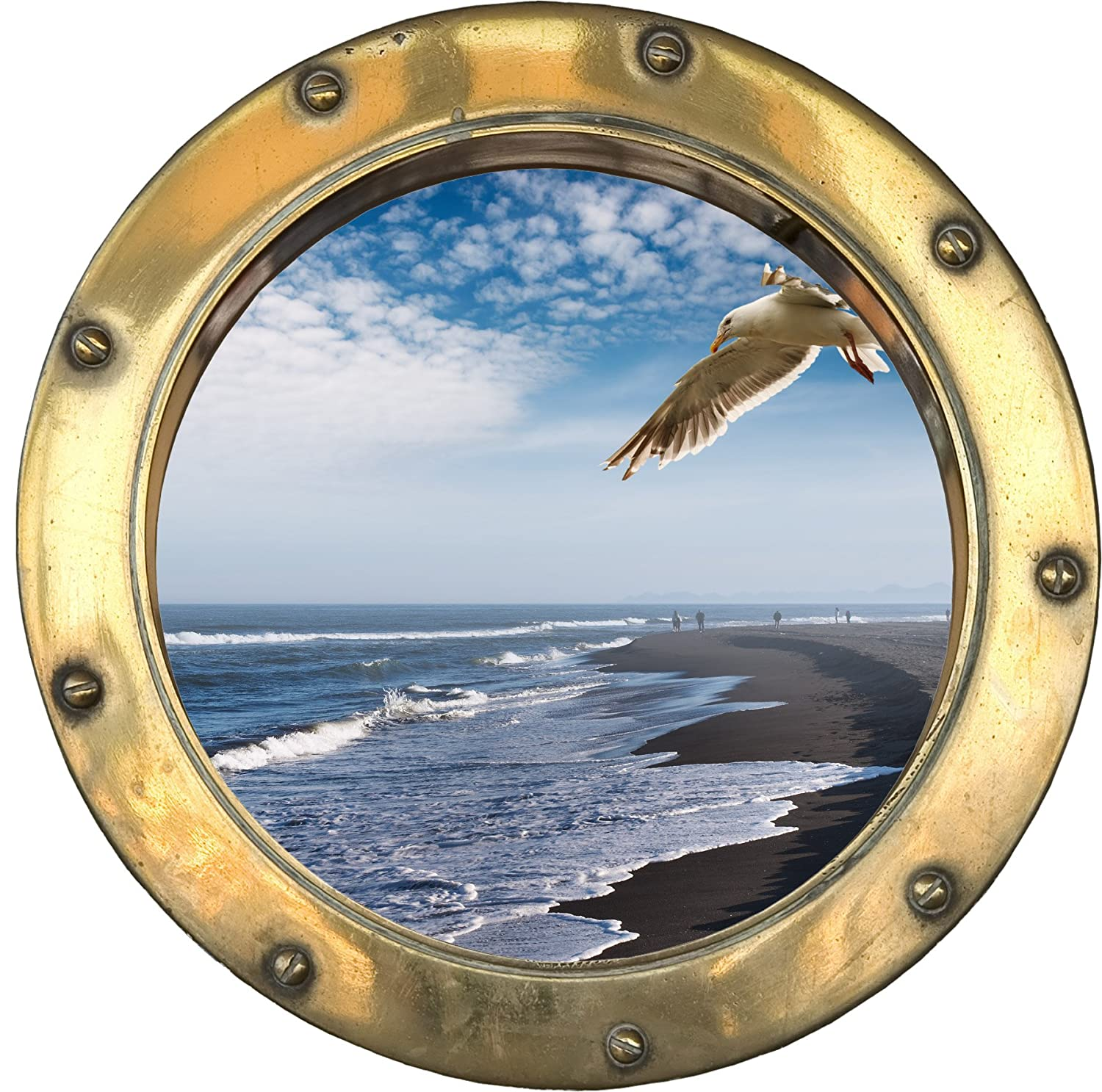 H316 self adhesive sticker optical illusion porthole seagull 30 x 30 cm amazon co uk kitchen home